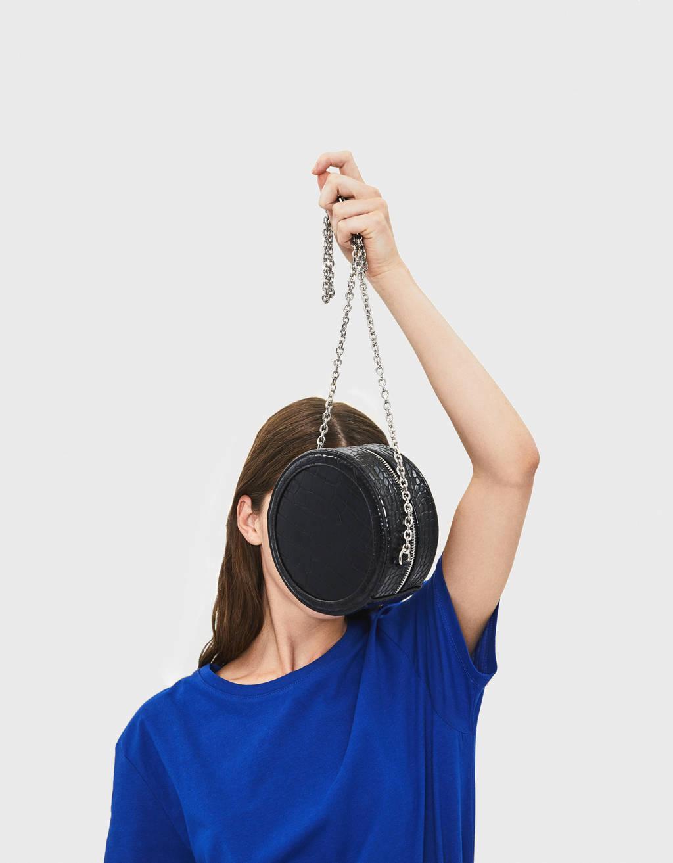 Round mock croc bag