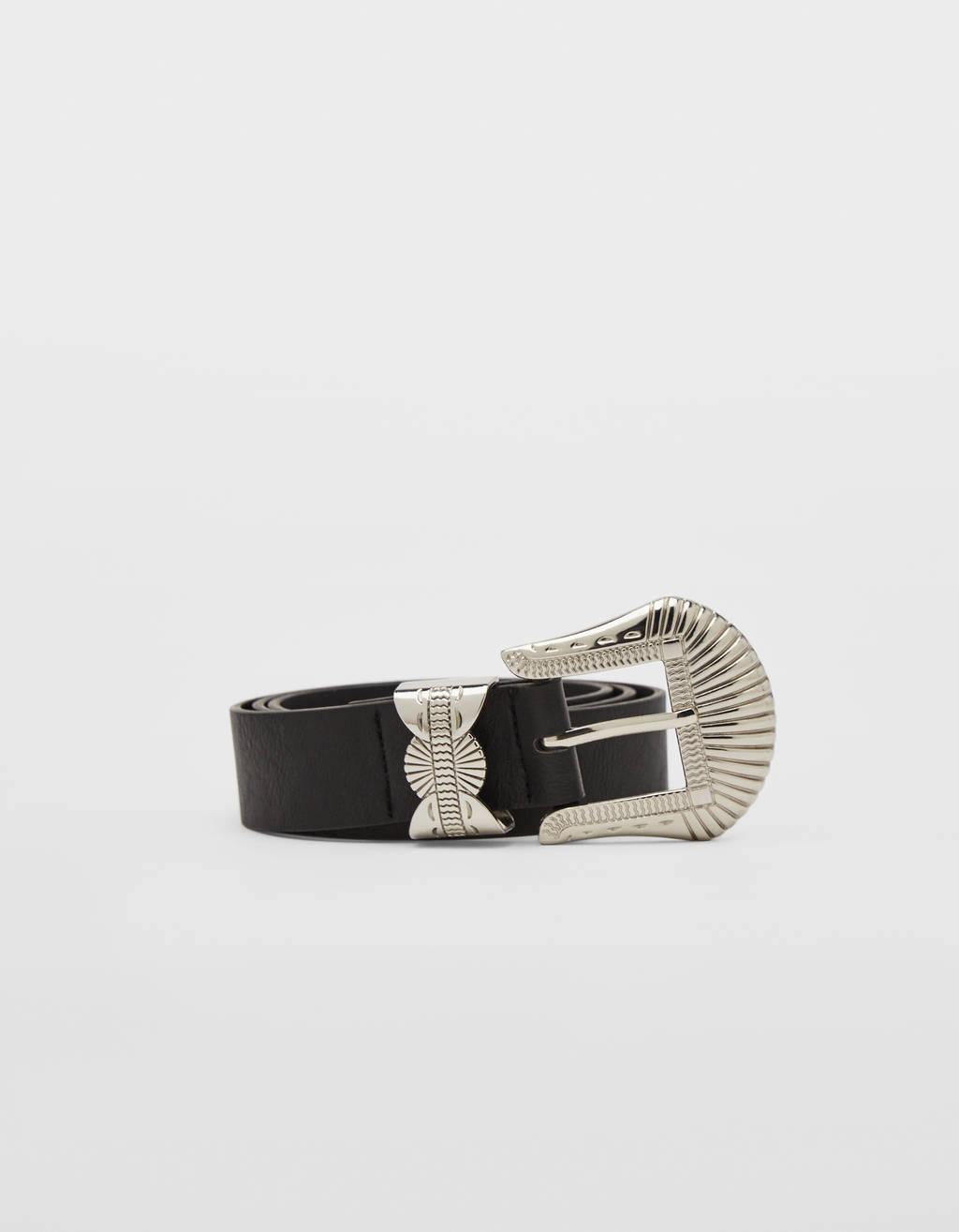 Cowboy belt with metal buckle