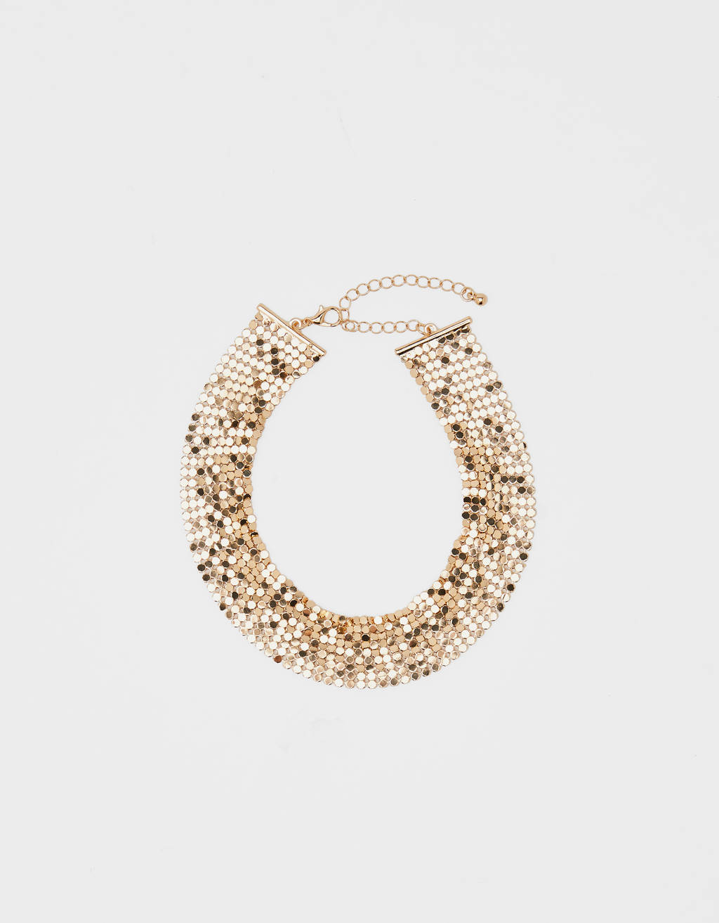 Gold mesh choker necklace