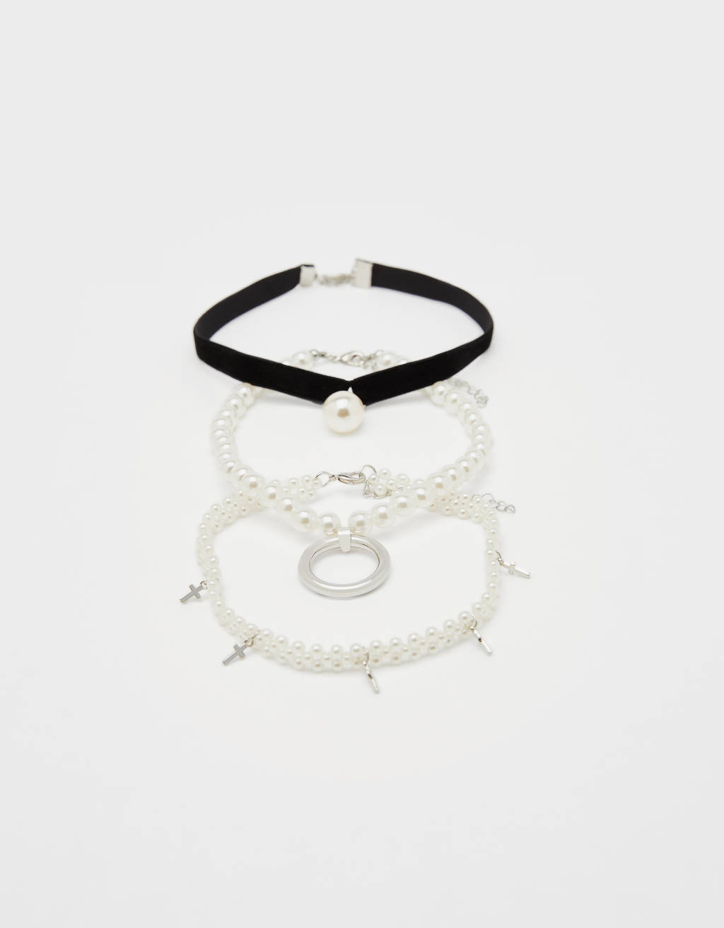 Set of pearl bead choker necklaces