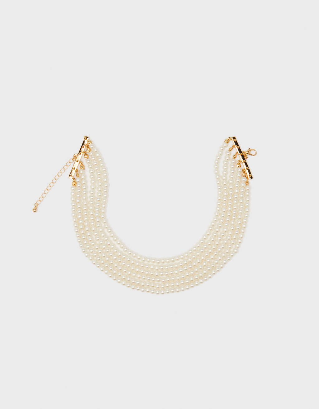 Choker necklace with faux pearls