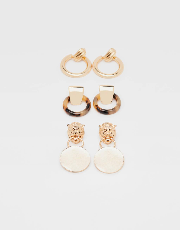 Set of tortoiseshell hoop earrings