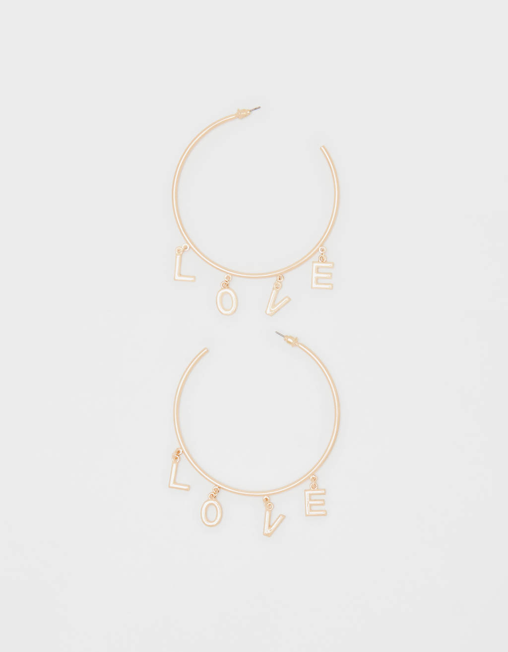 """Love"" hoop earrings"