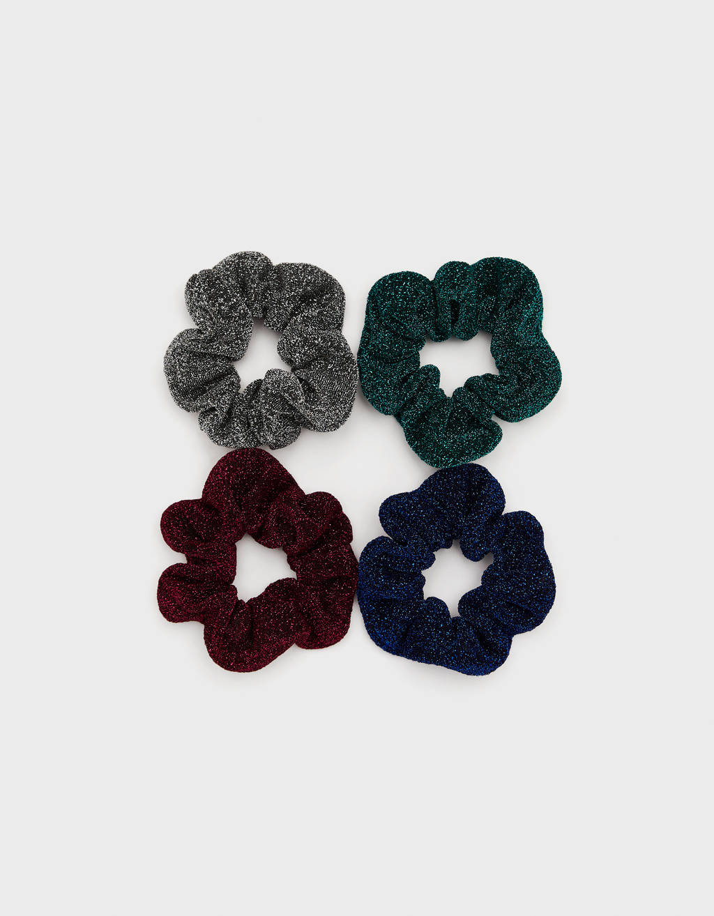 Pack of scrunchies with metallic thread