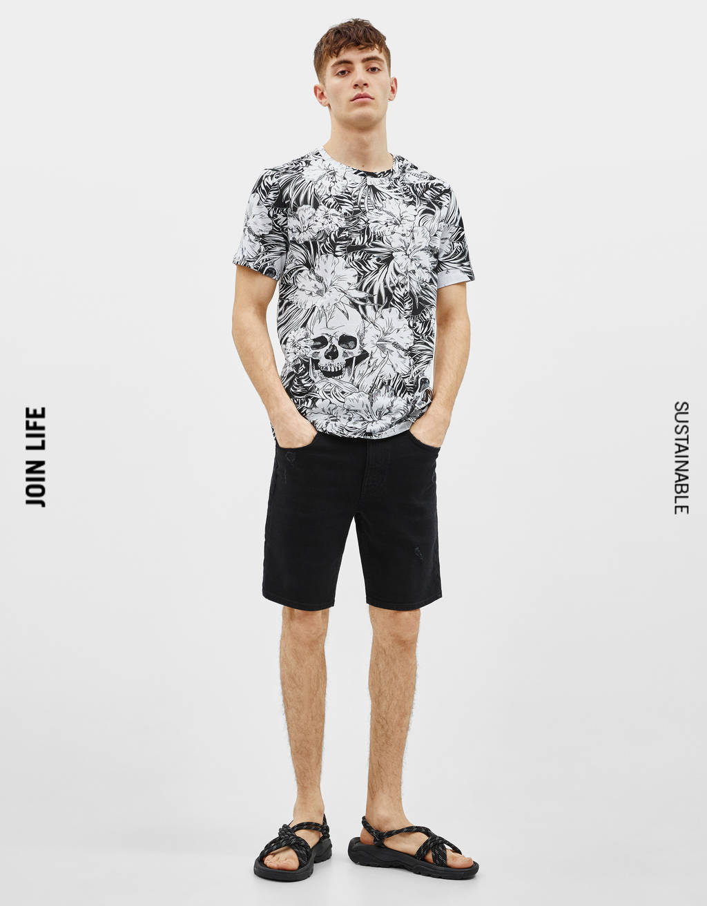 T-shirt med blomsterprint