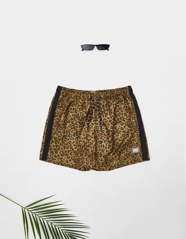 Leopard print swimming trunks