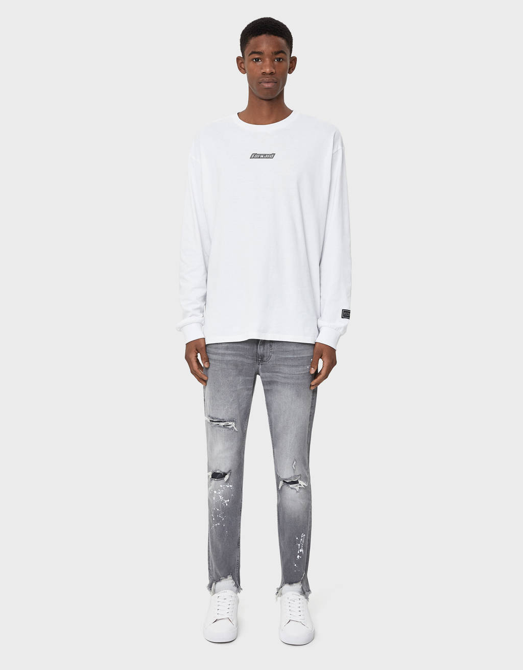 Jeans skinny fit effetto pittura