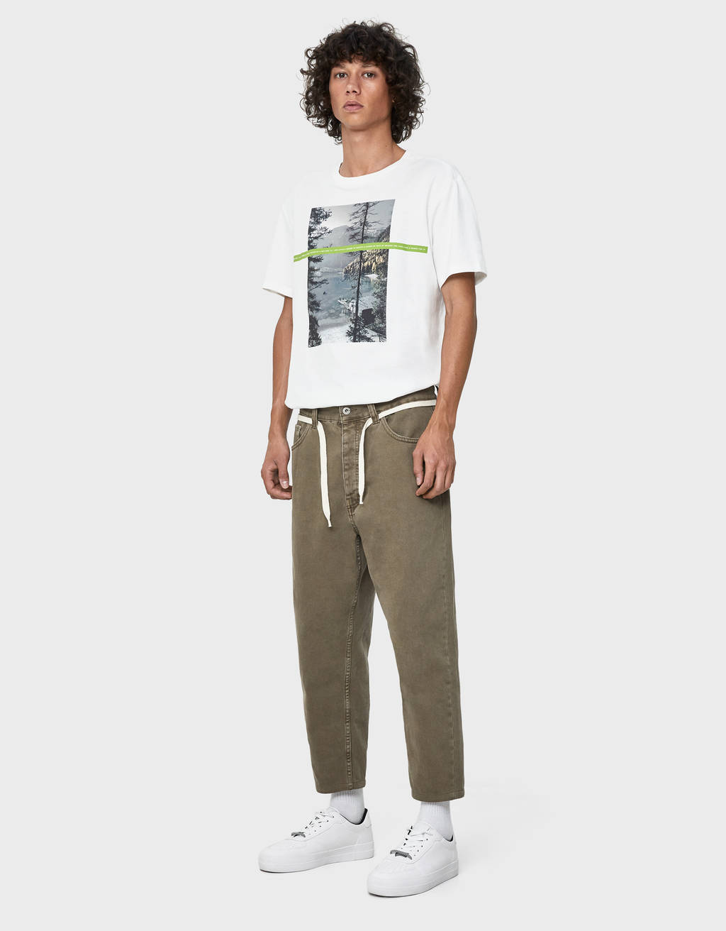 Loose fit drawstring trousers