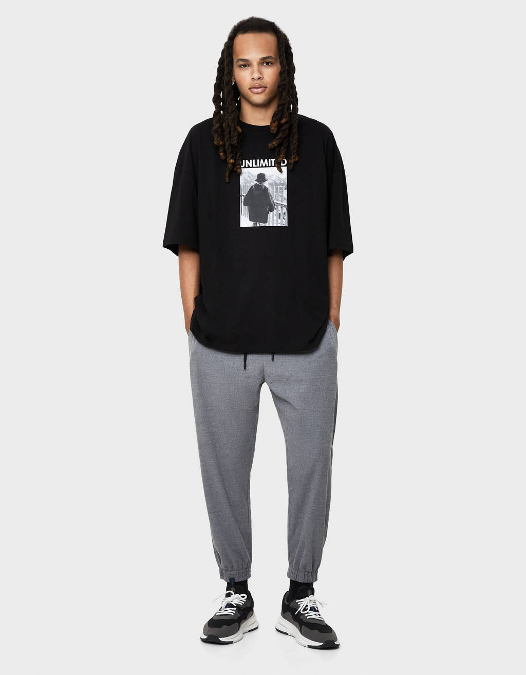 Textured jogging trousers