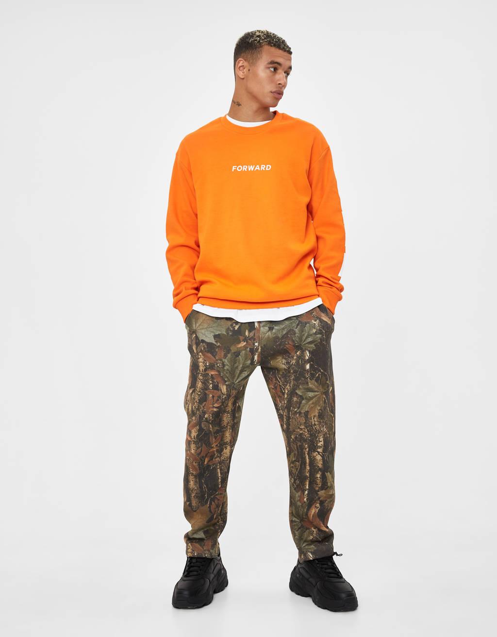 Leaf print plush trousers