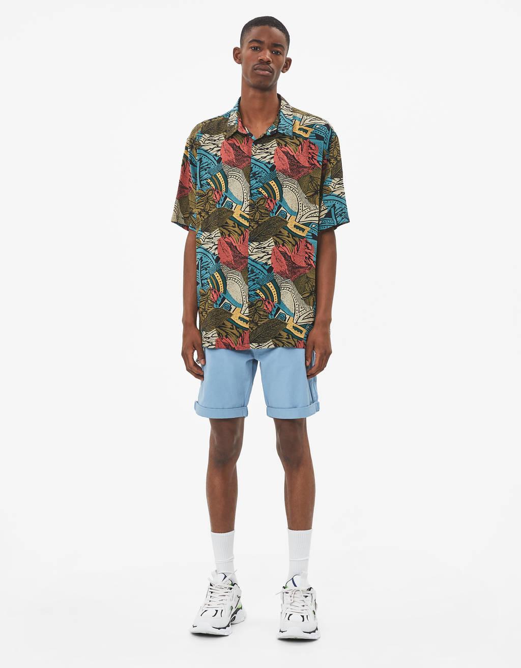 Camisa con estampado flores