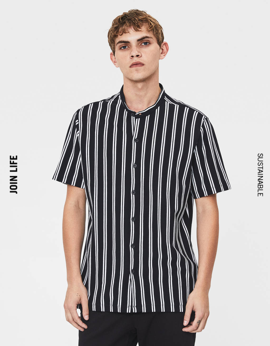 Striped stand-up collar shirt