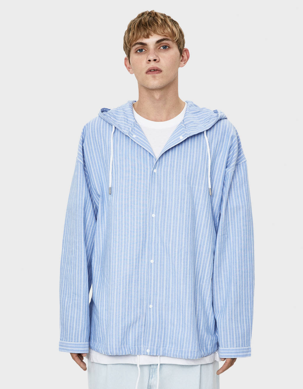 Striped hooded overshirt
