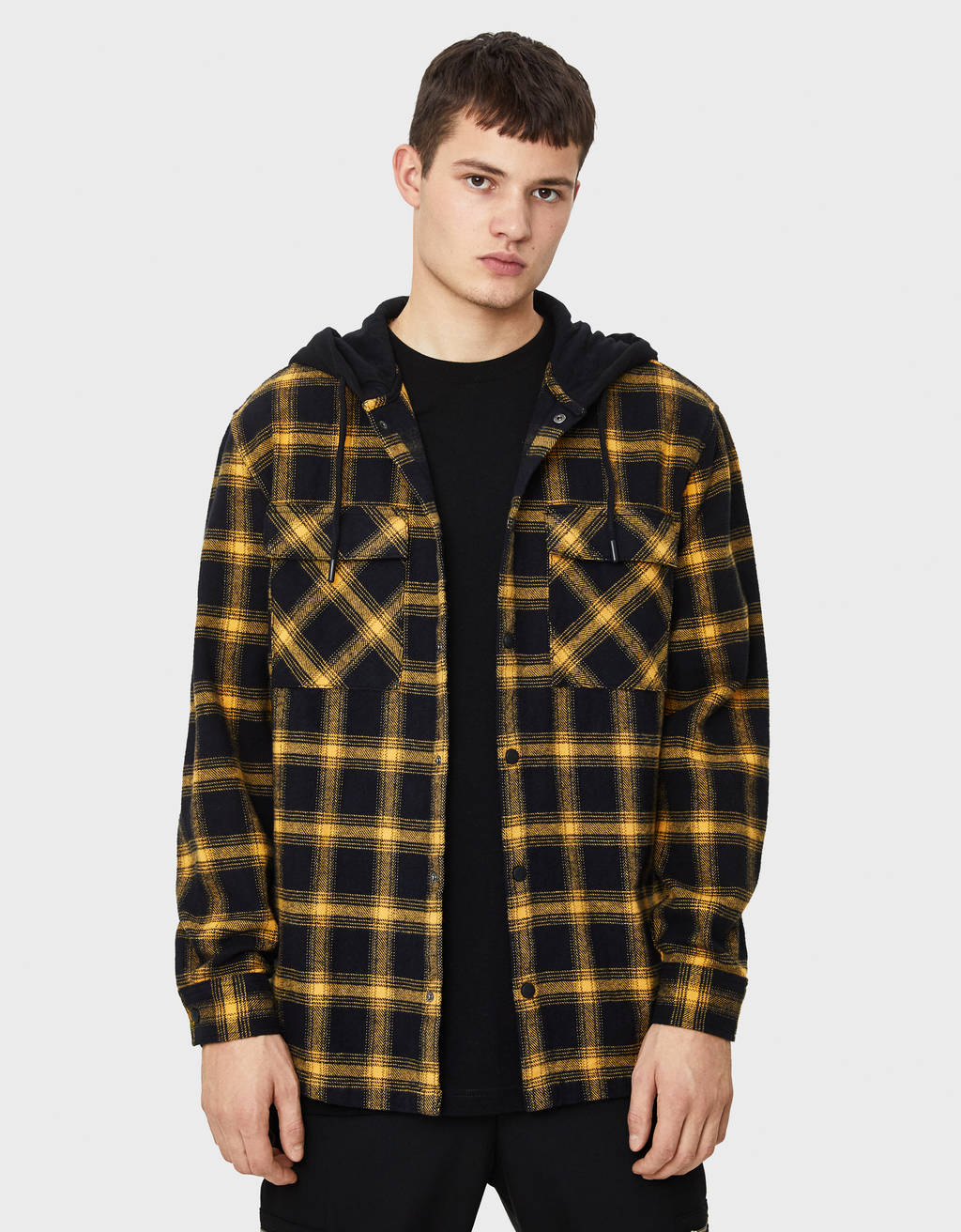 Check hooded overshirt