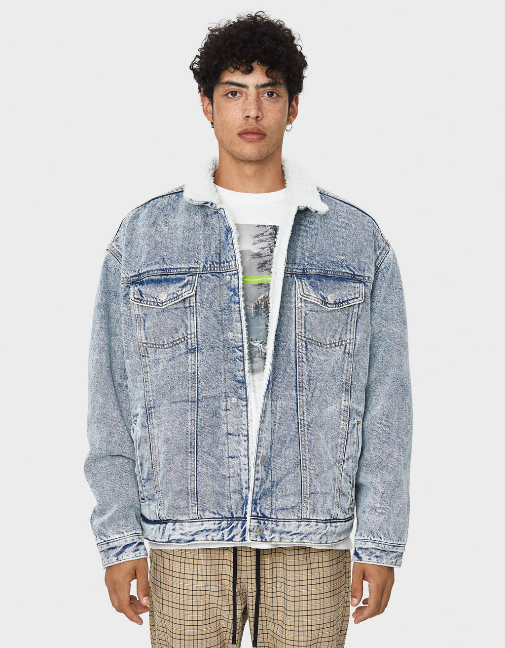 Denim jacket with faux shearling and print