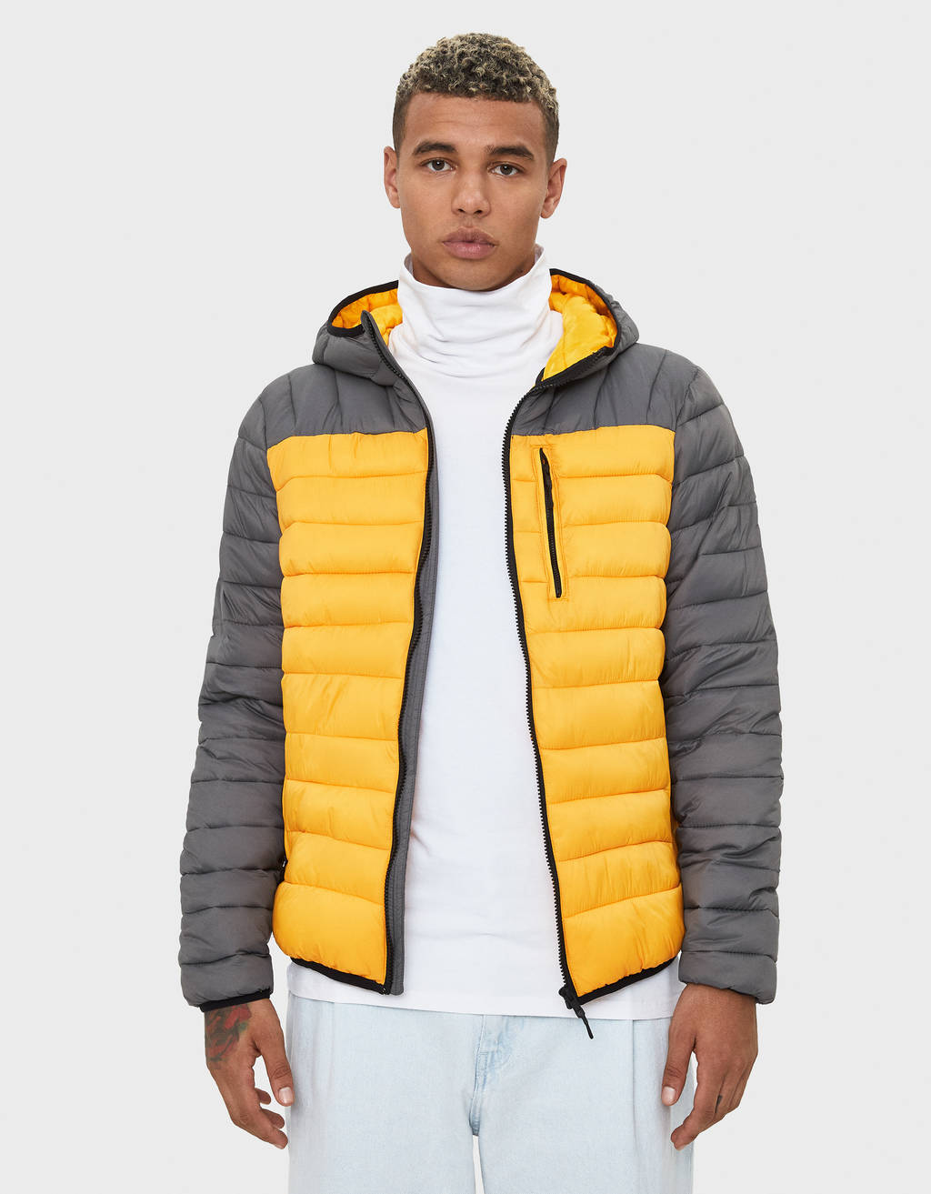 Puffy jacket with hood