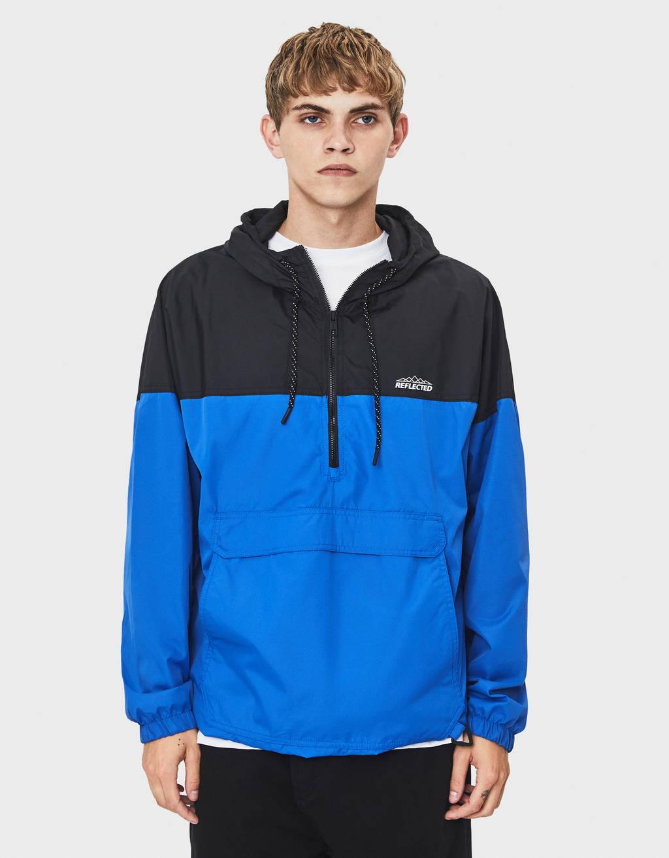 Двухцветная куртка-кенгуру