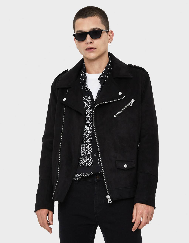 Zamšādas baikeru stila jaka
