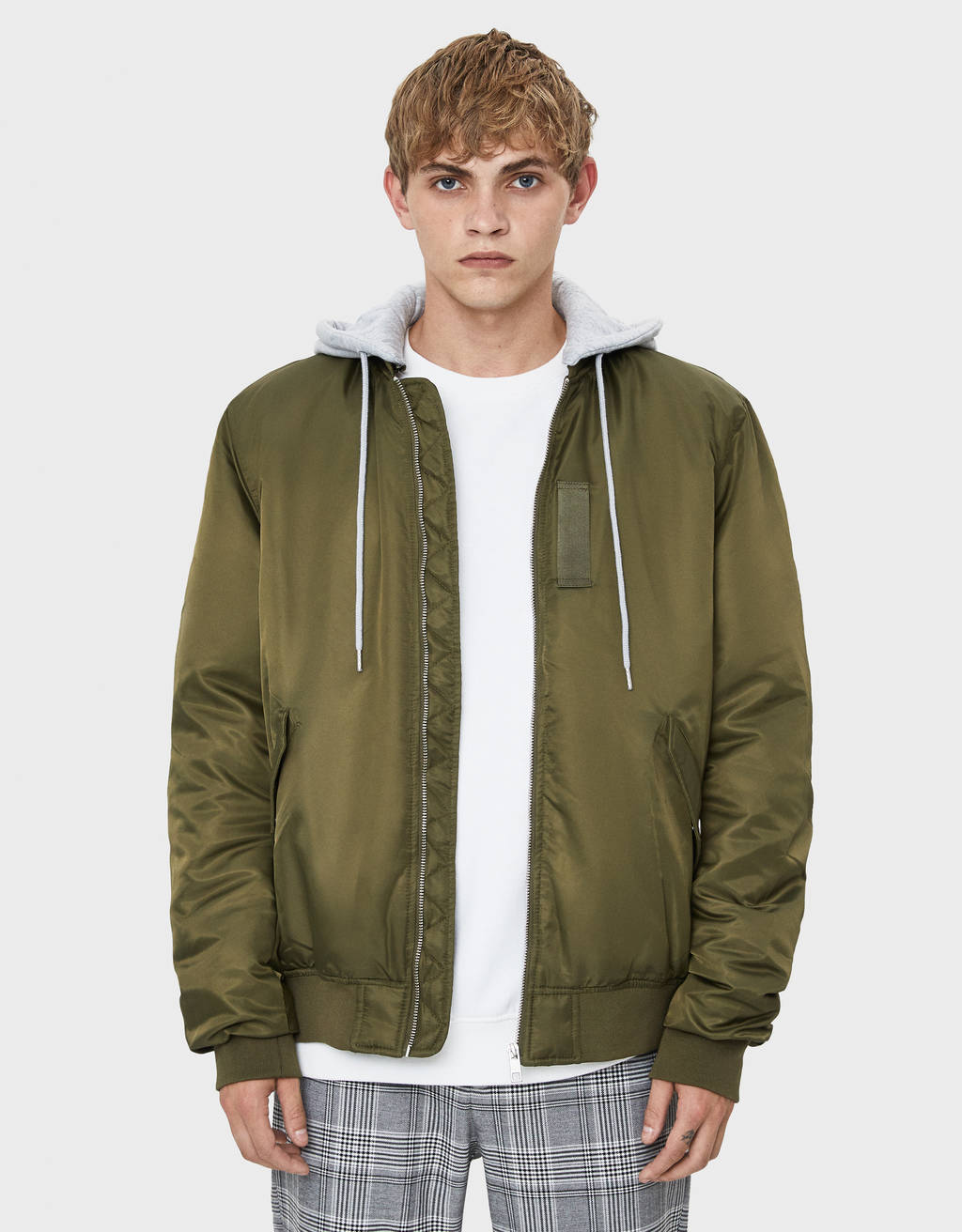 Quilted bomber jacket with detachable hood