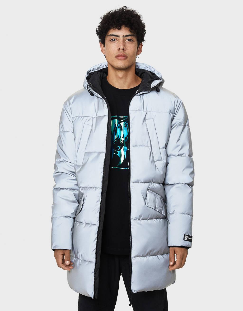 フード付きロング丈キルティングコート