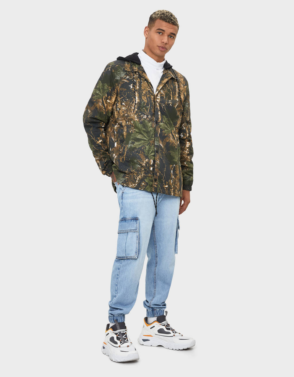 Coach jacket with detachable hood