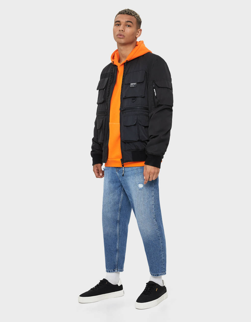 Quilted utility bomber jacket