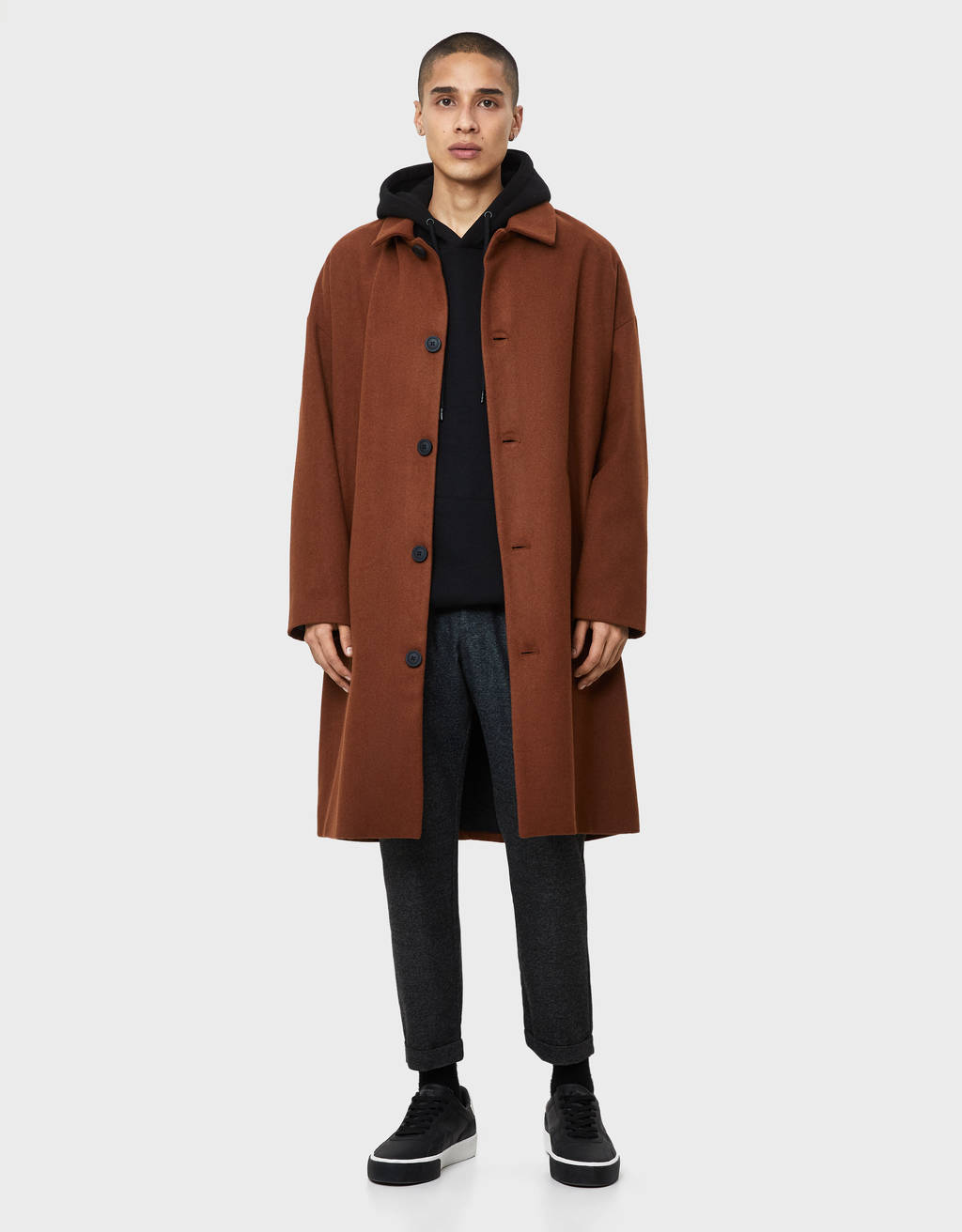 Oversized synthetic wool coat