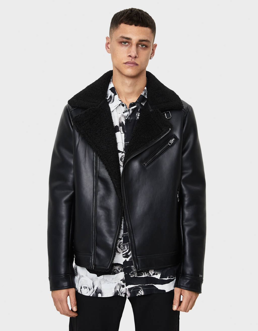 Biker jacket with faux shearling