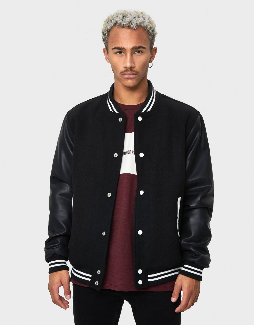 Wool-blenc cloth bomber jacket