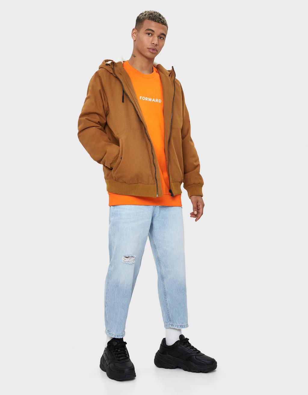 Kokvilnas jaka ar kapuci