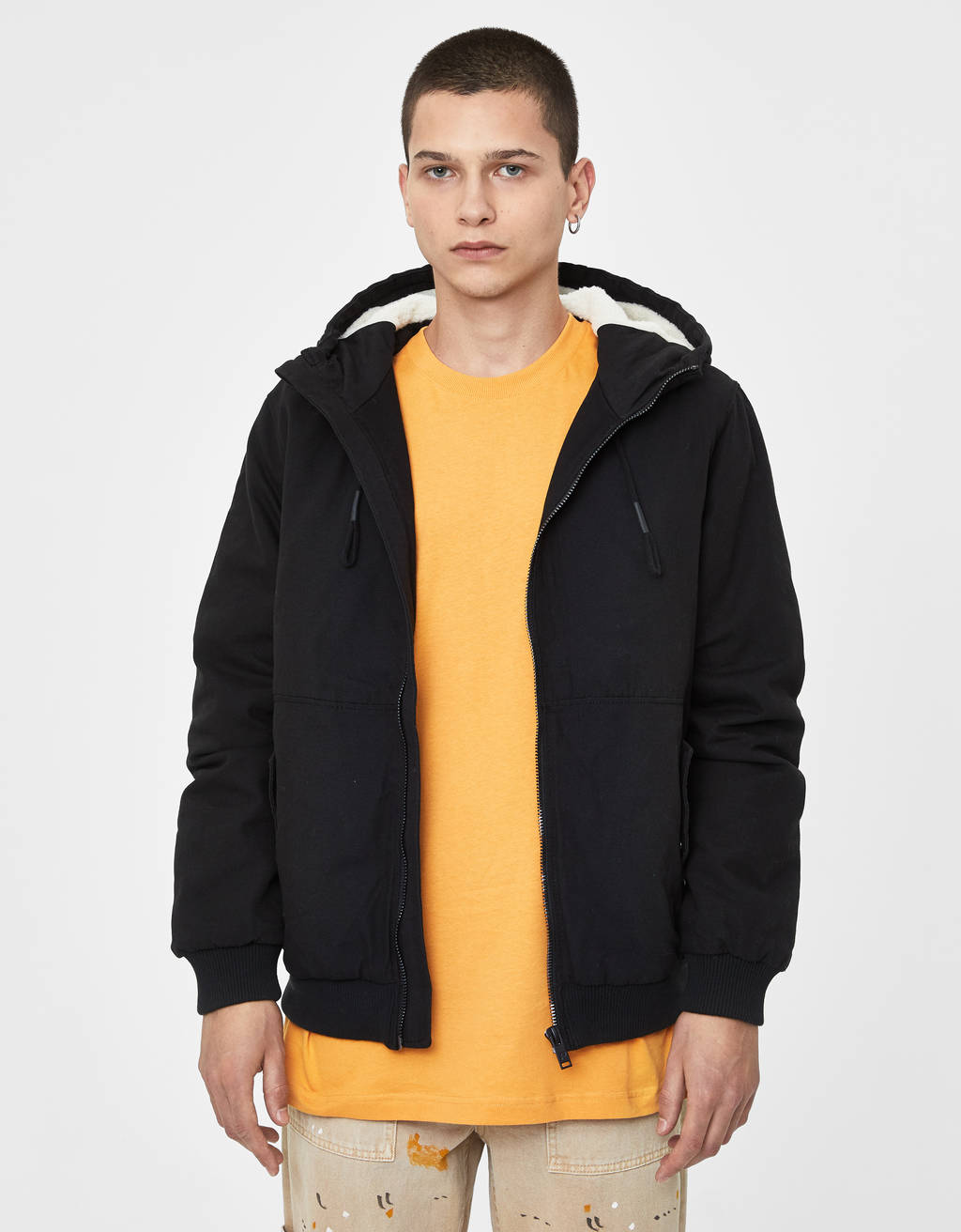 Cotton jacket with hood