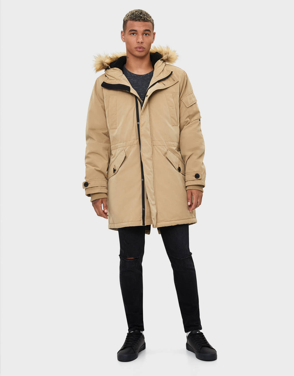 Quilted cotton hooded parka