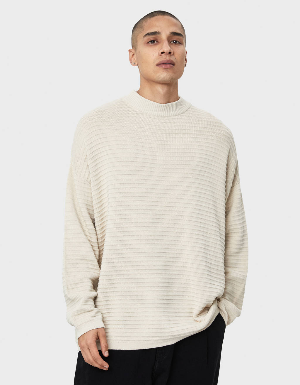 High neck waffle-knit sweater