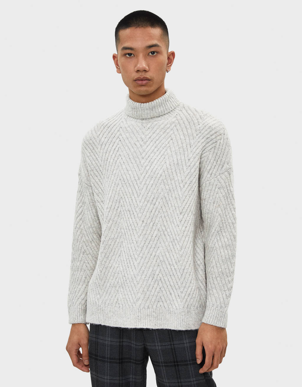 Cable-knit sweater with high neck