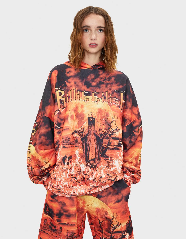 Billie Eilish x Bershka hoodie met vlammenprint