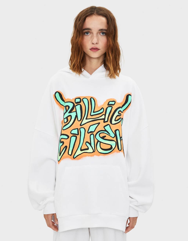 Billie Eilish x Bershka graffiti print hoodie