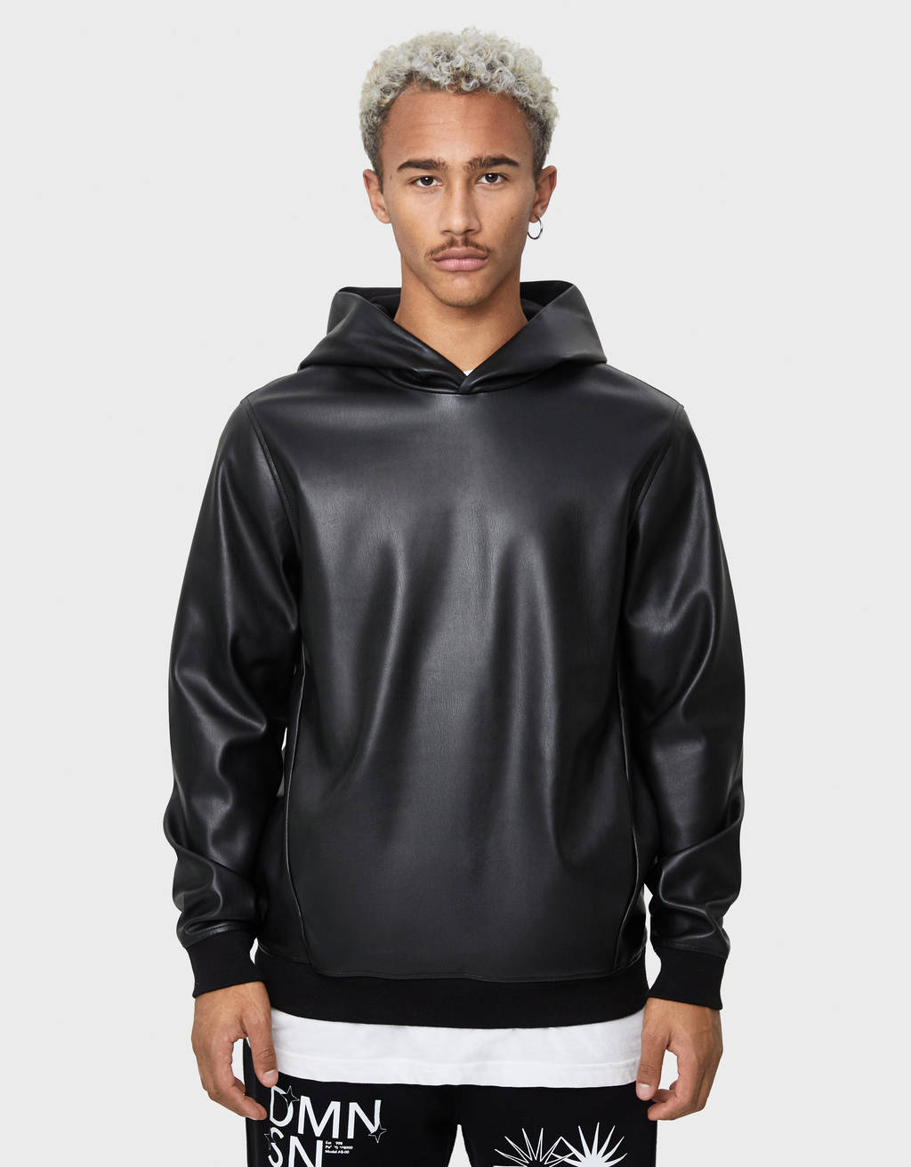 Faux leather sweatshirt