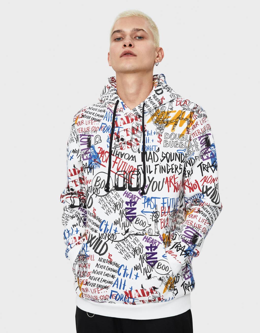 Sweater majica s kapuljačom i uzorkom