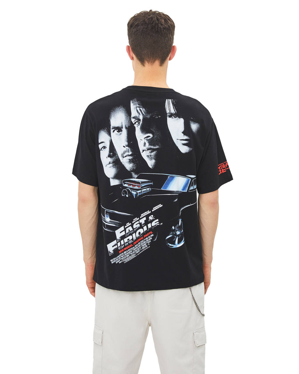 Fast and Furious baskılı t-shirt