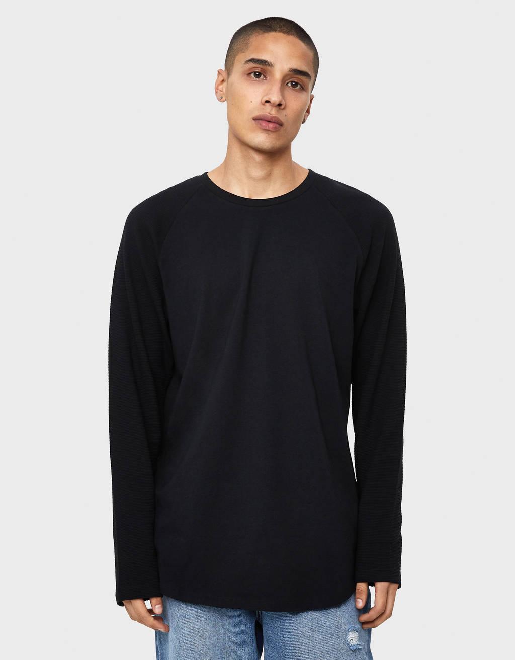 Sweater ottoman com manga raglã