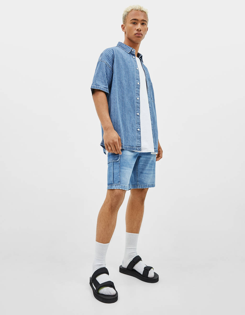 Denim cargo Bermuda shorts