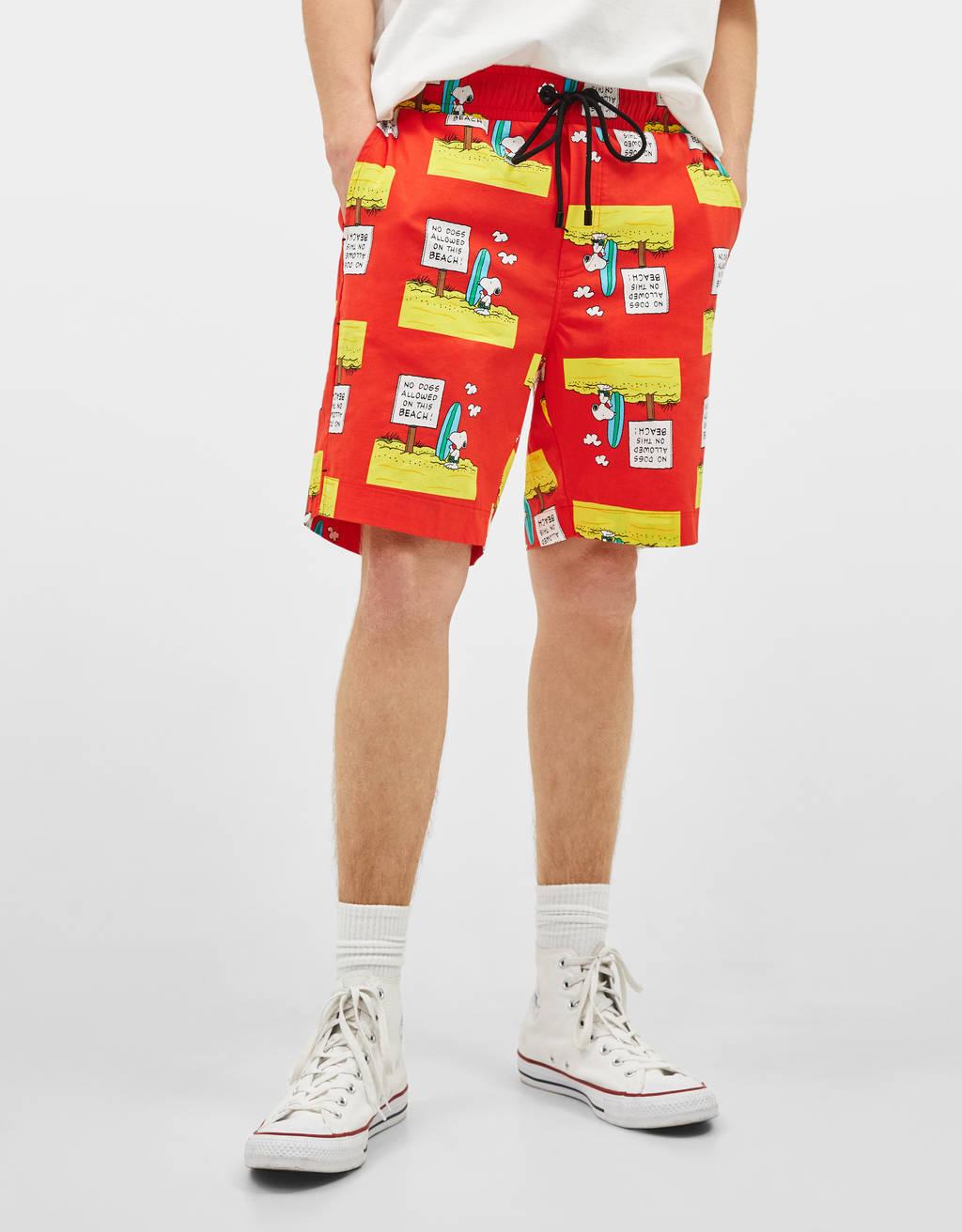 Snoopy print Bermuda shorts