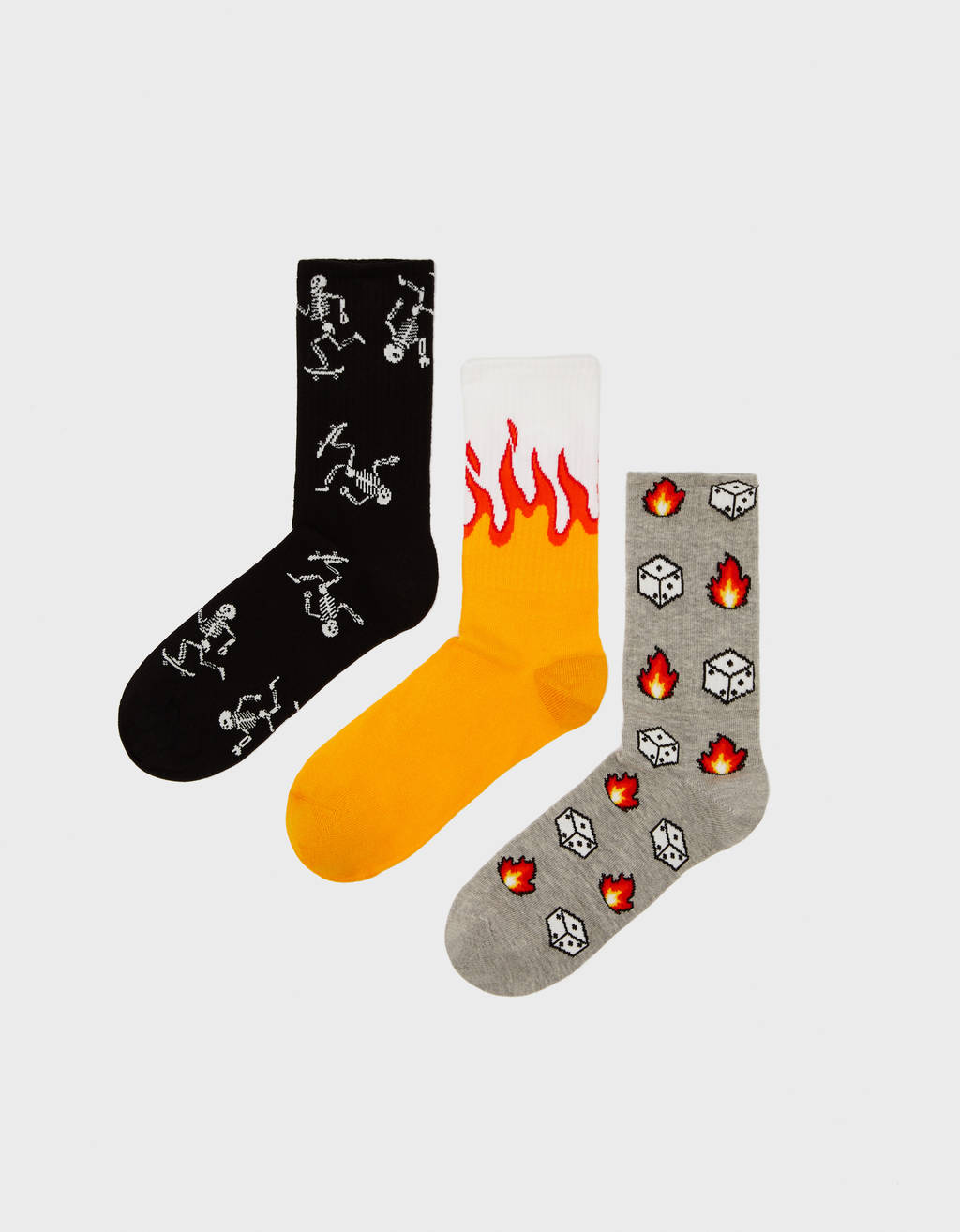 Pack of socks with flames