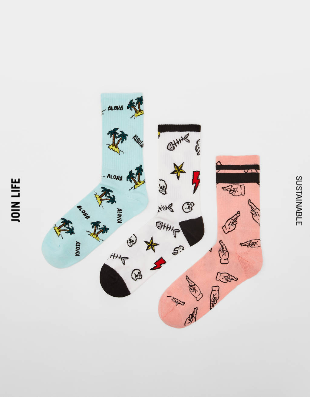 Pack of tropical print socks