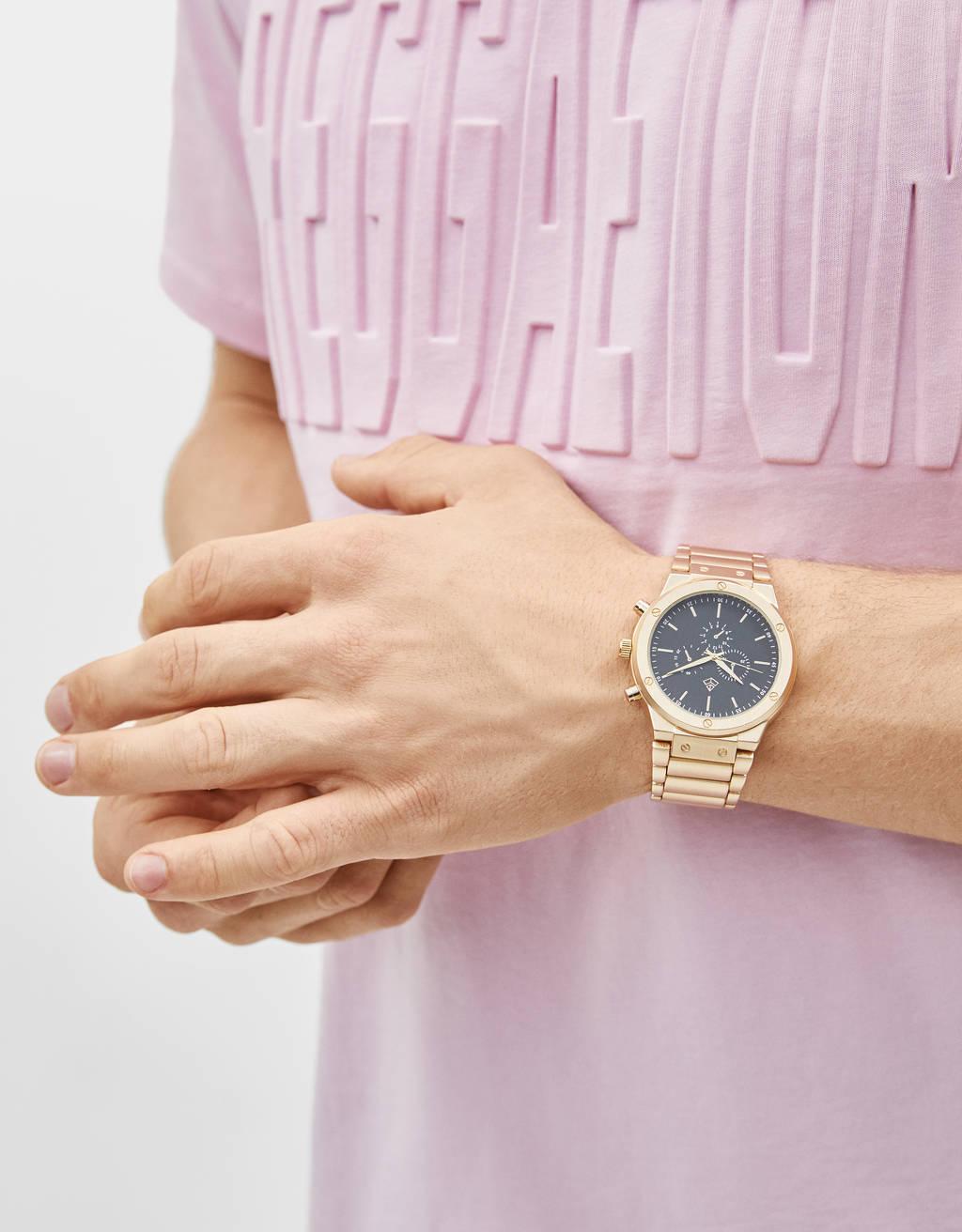 メタリックアナログ腕時計