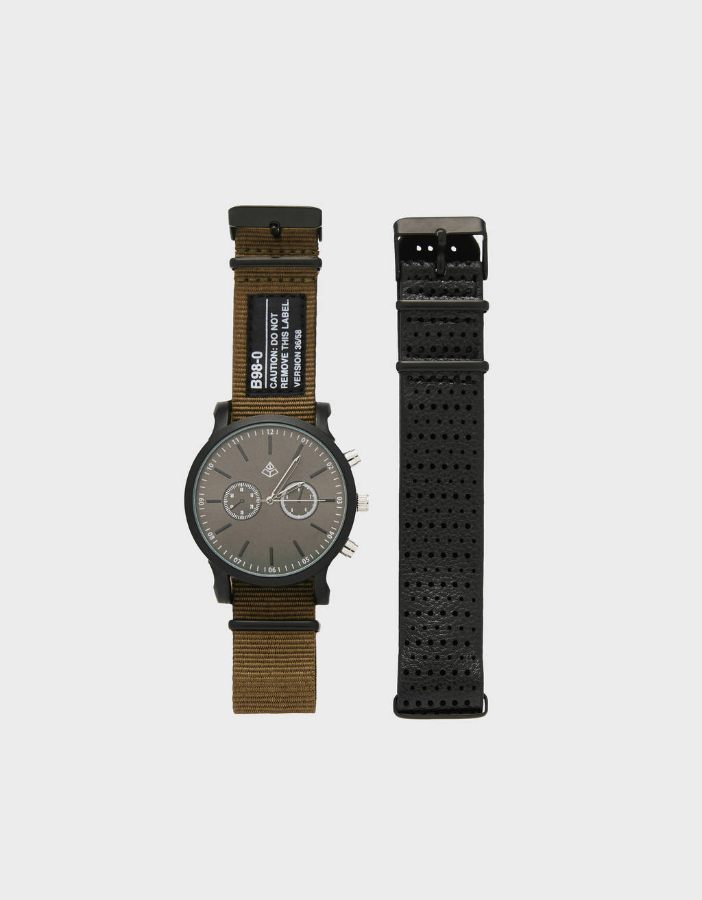 Analogue watch with interchangeable canvas strap