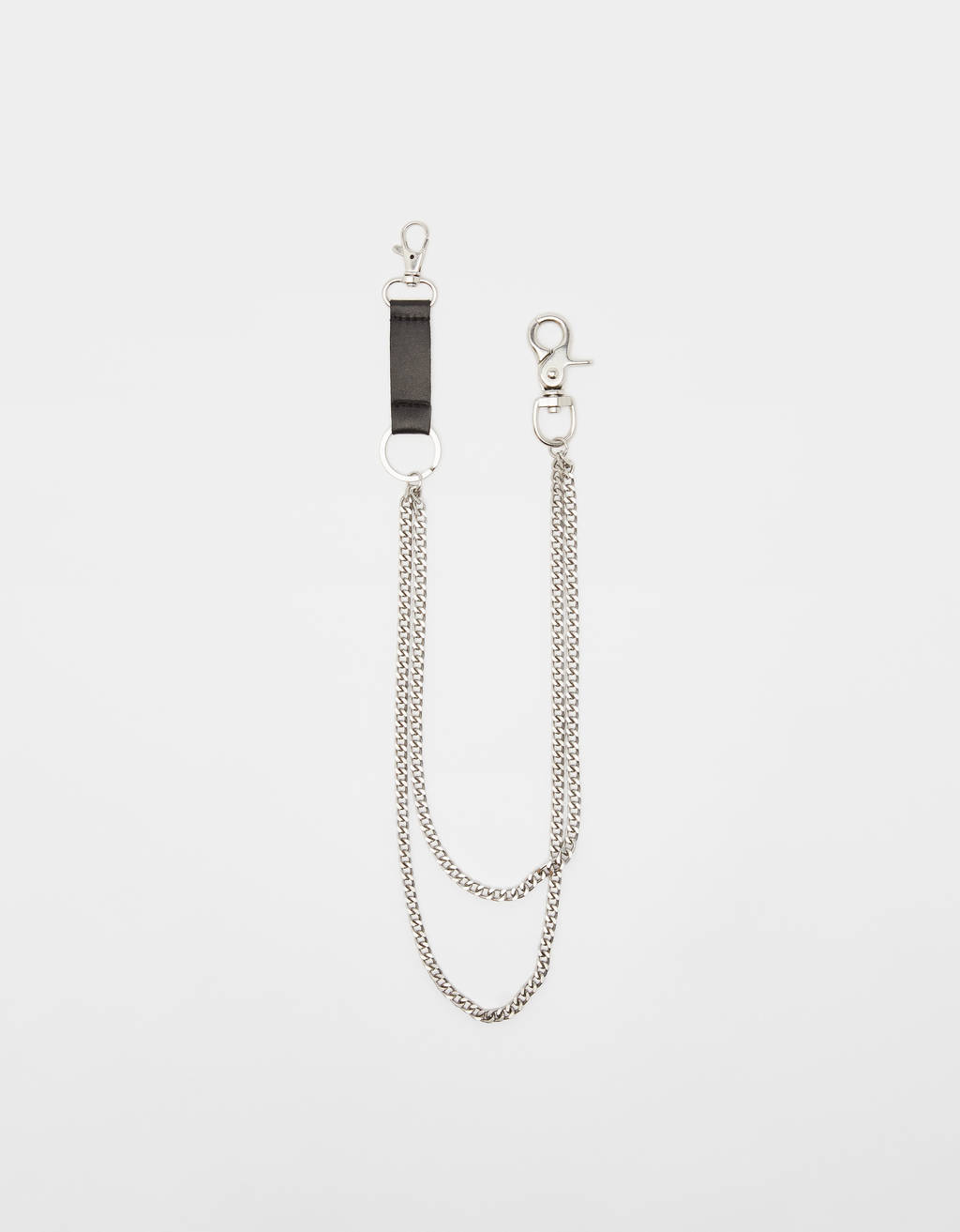 Chain key ring with faux leather detail