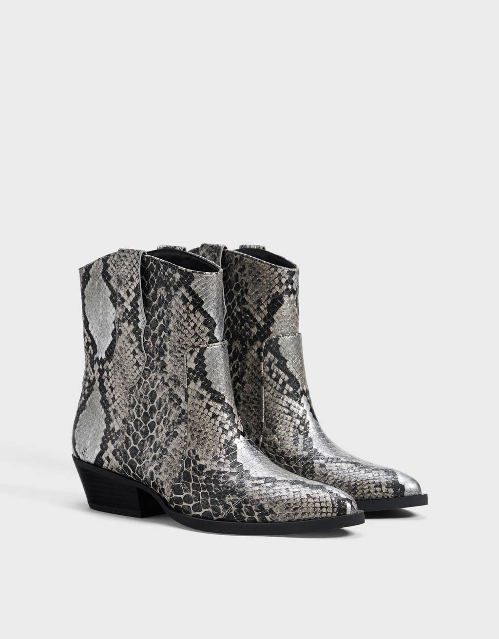 High heel animal print cowboy-style ankle boots