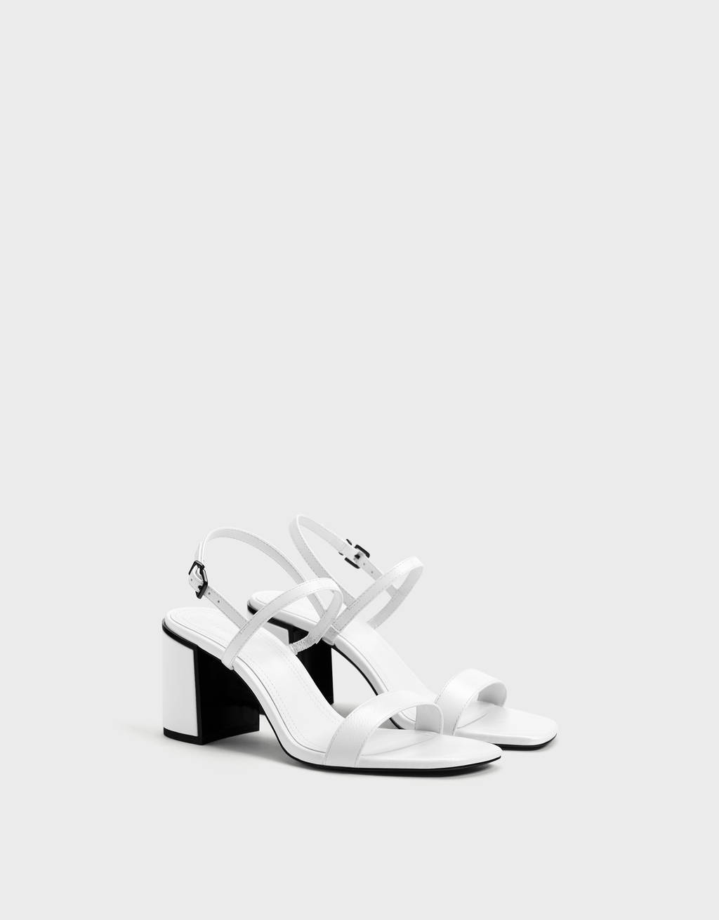 Heeled sandals with faux patent detail