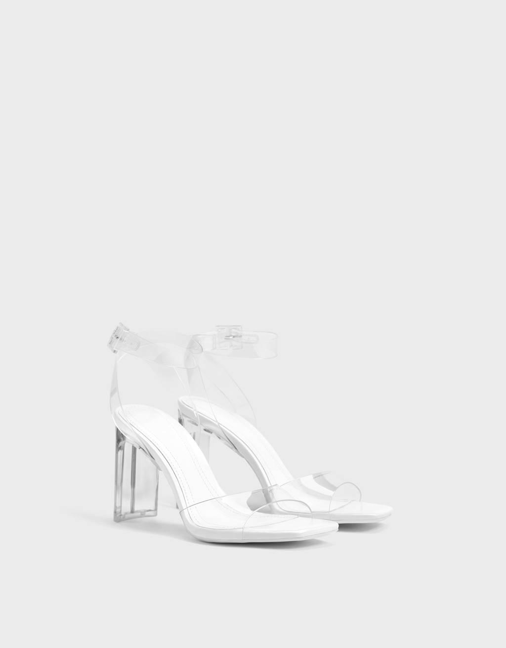 Vinyl high-heel sandals
